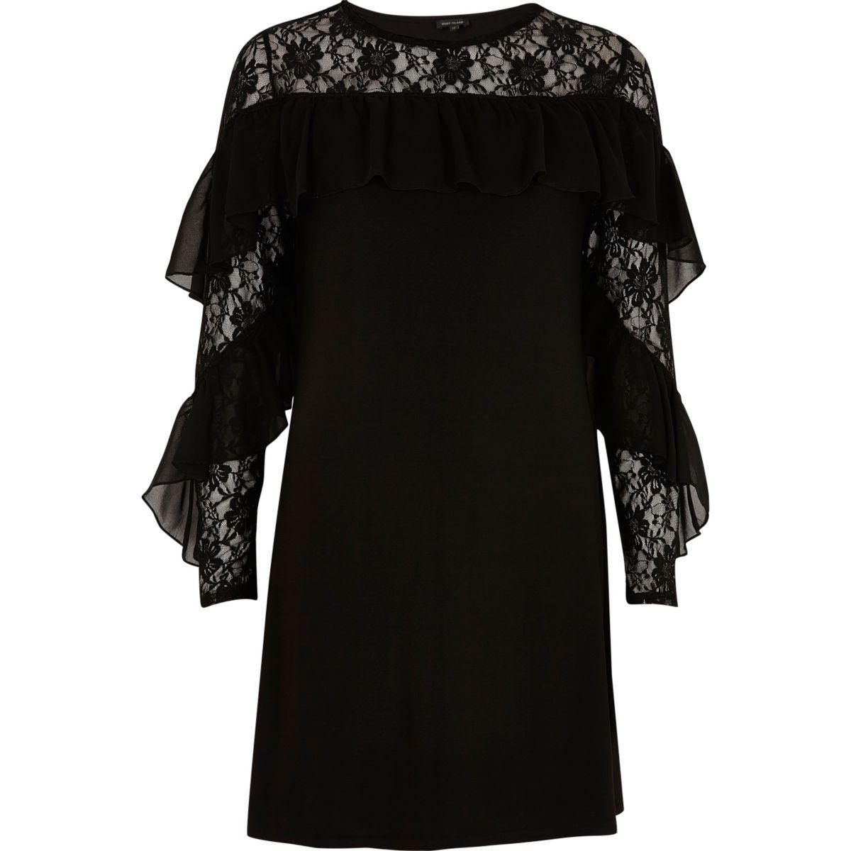 Kleid aus schwarzer Spitze mit Rüschen