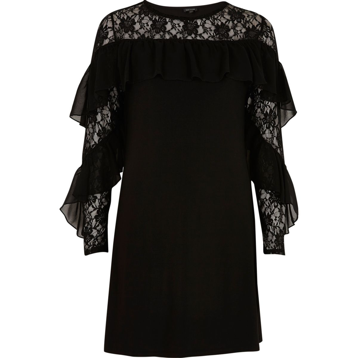 Black lace frill sleeve dress