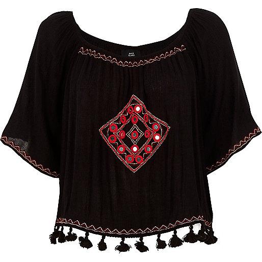 Black embroidered mirror crop top