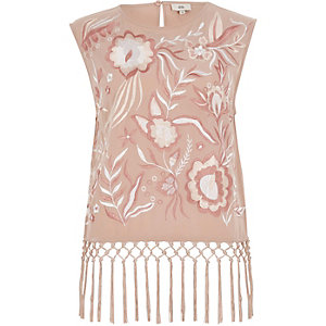 Light pink embroidered fringe top