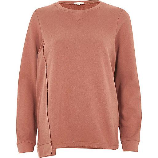 Brown deconstructed hem sweatshirt