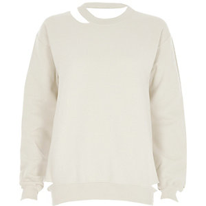Beige cut out sweatshirt