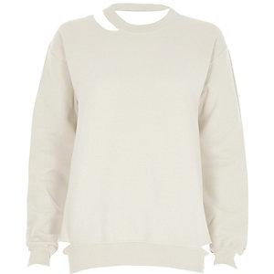 Beige cut out sweatshirt