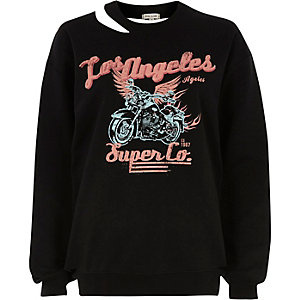 Black 'Los Angleles' print cut out sweatshirt