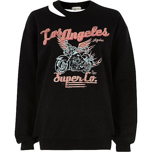 Black 'Los Angleles' print cut out sweatshirt
