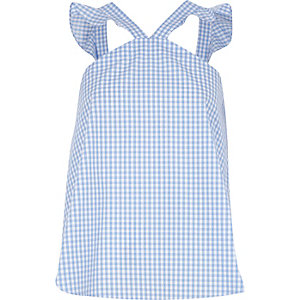 Blue gingham frill sleevless top