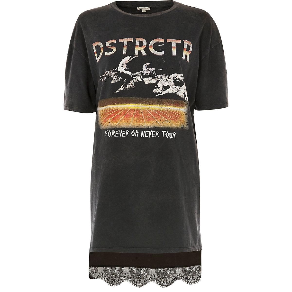 ... T-shirt oversize imprimé groupe de rock gris avec dentelle à l ourlet  ... d7aa7a7a50b
