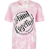 Pink tie dye 'stand together' print T-shirt