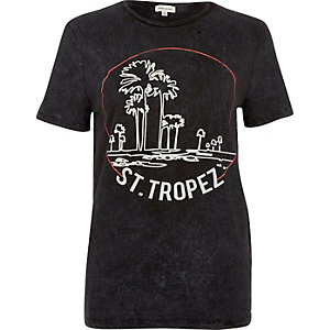 Black washed San Tropez print T-shirt
