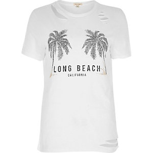 White beach print distressed T-shirt