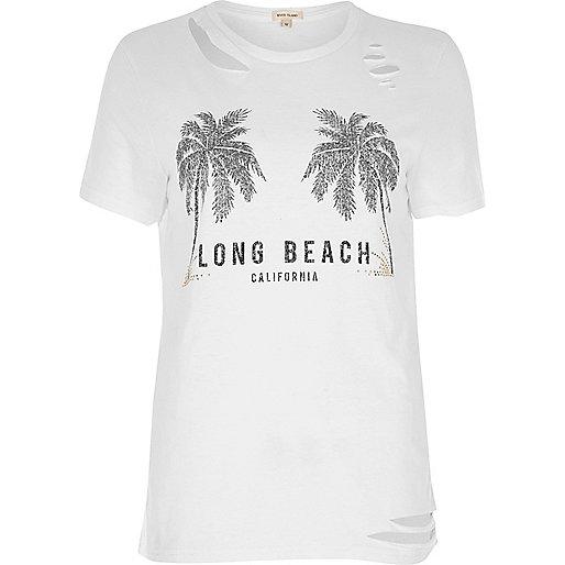 White beach print distressed T-shirt