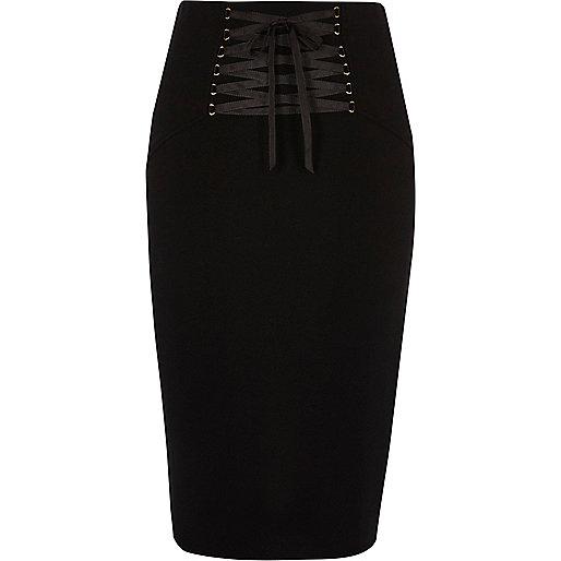 Black lace up corset midi pencil skirt