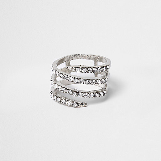 Silver tone diamante spiral ring
