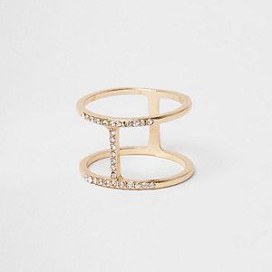 Gold tone diamante H ring