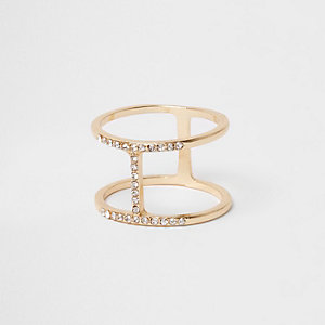 Gold tone rhinestone H ring