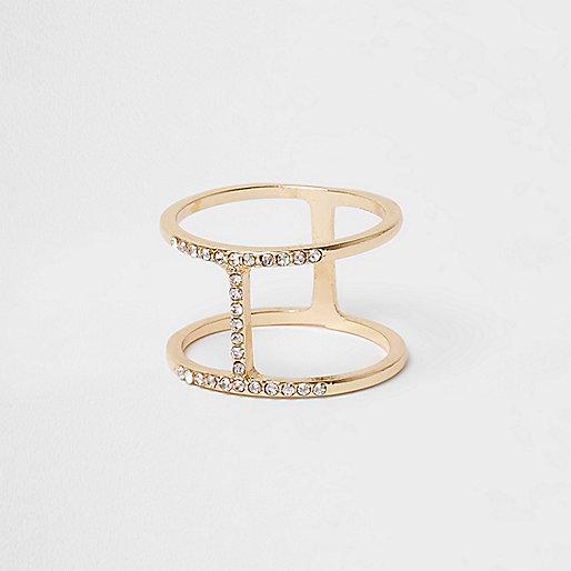 Gold tone diamante ring