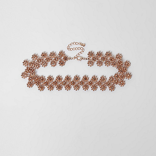 Rose gold floral embellished choker