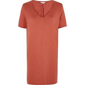Orange harness neck oversized T shirt