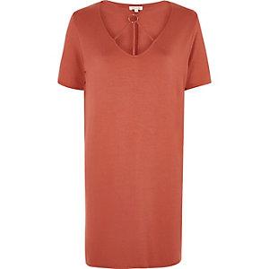 Oranje oversized T-shirt met gekruiste bandjes om de hals