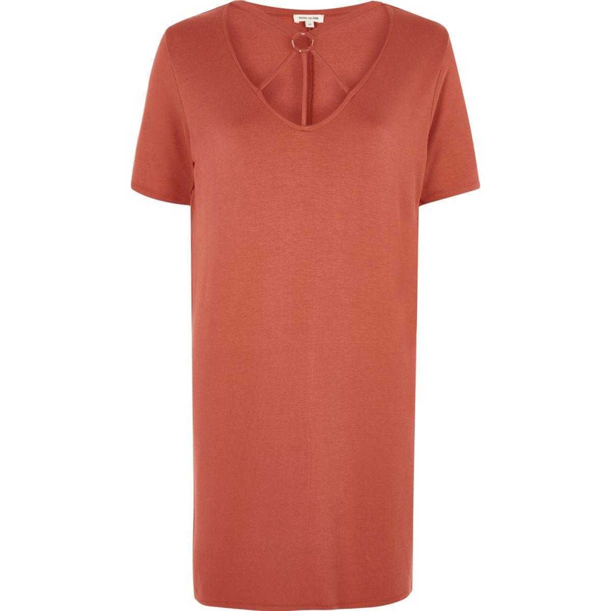 Orange harness neck oversized T shirt
