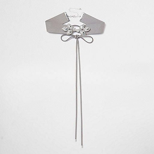 Grey diamante embellished corset choker