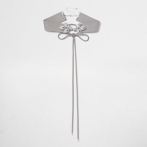 Grey rhinestone embellished corset choker