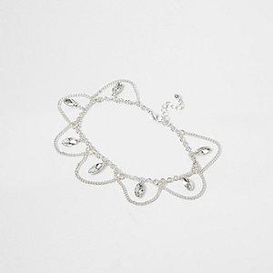 Silver tone drape rhinestone anklet