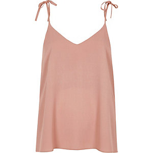 Dark pink bow shoulder cami top