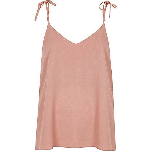 Dark pink bow shoulder cami top