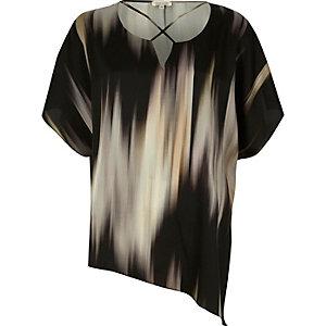 Grey abstract print cross neck asymmetric top