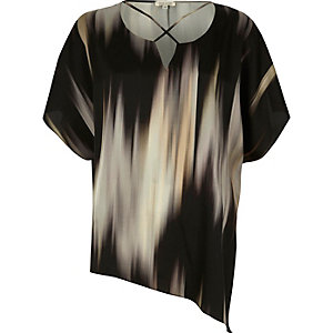 Grey abstract print cross neck asymmetric top