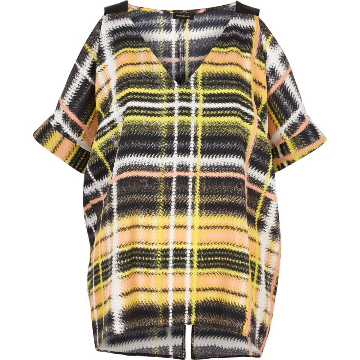 Yellow check print cold shoulder oversized to