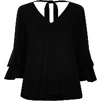 Black double bell sleeve tie back V neck top