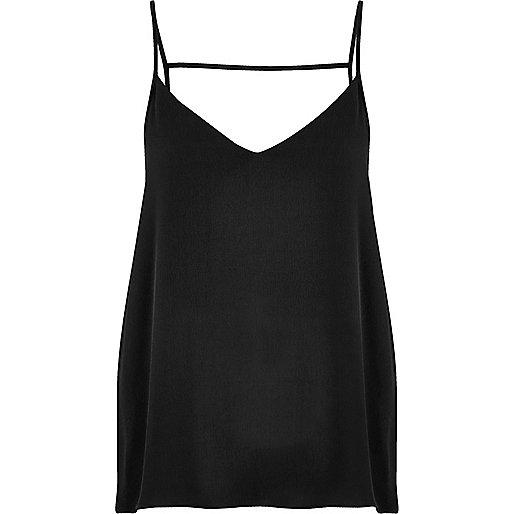 Black strappy back cami top