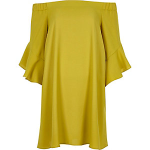 Lime green bell sleeve bardot swing dress