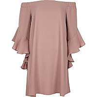 Pink bell sleeve bardot swing dress