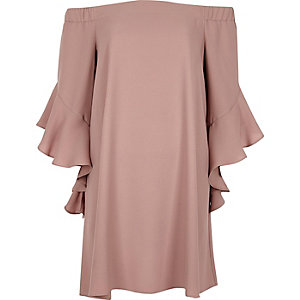 Pink bell sleeve bardot swing dress