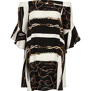 Black scarf print bardot swing dress