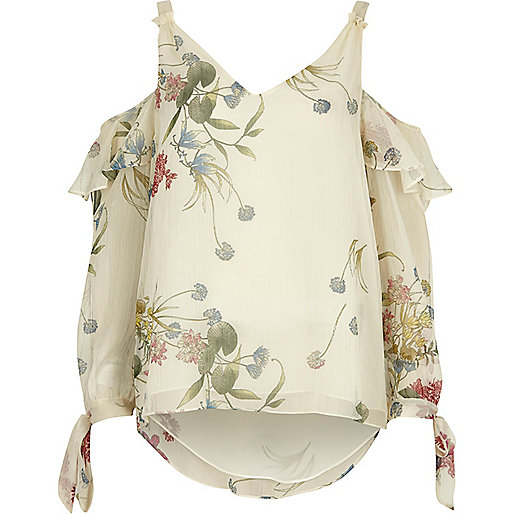 White floral print cold shoulder frill top