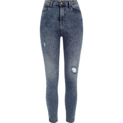 Harper Blauwe rip skinny jeans met hoge taille