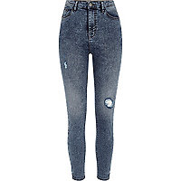 Blue rip Harper high waisted skinny jeans