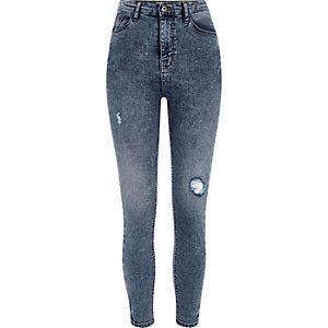 Harper - Blauwe rip skinny jeans met hoge taille