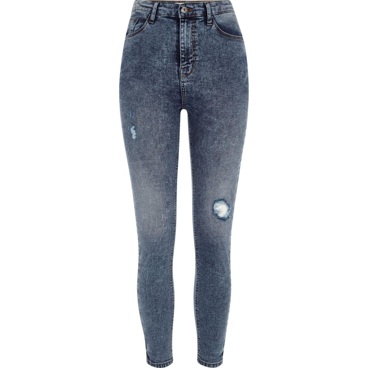 Blue rip Harper high waisted skinny jeans
