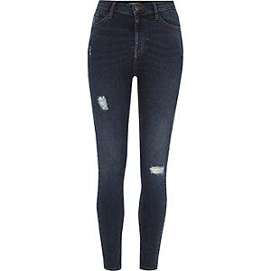 Harper - Donkerblauwe skinny jeans met hoge taille