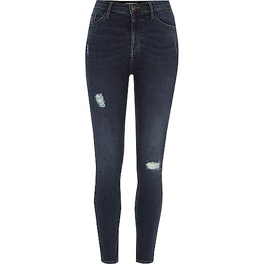 Dark blue Harper skinny high waisted jeans