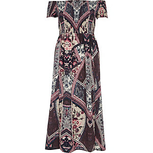 Purple scarf print shirred bardot maxi dress