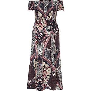 Paarse gesmokte maxi-jurk met bardothalslijn en sjaalprint