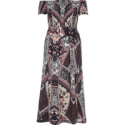 Purple scarf print shirred bardot maxi dress