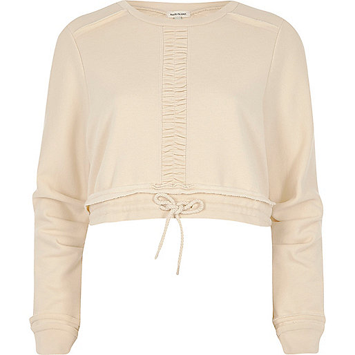 Light beige ruched cropped sweatshirt