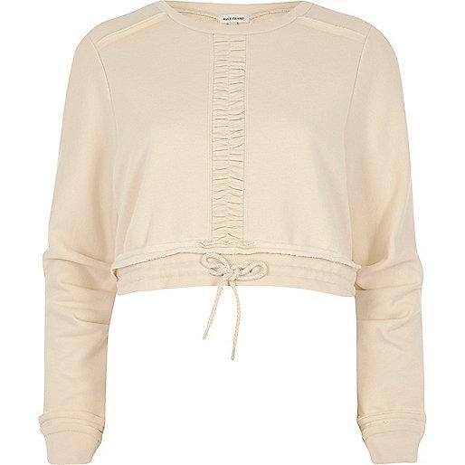 Lichtbeige cropped sweatshirt met rimpeling